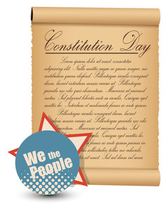 Vintage Style  Constitution Day Vector Illustration