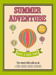 Vintage Summer Adventure flyer template or banner design with hot air balloons for tour and travels.
