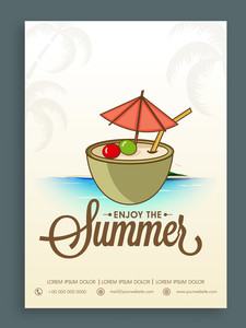 Vintage Summer Party template banner or flyer design for tour and travels.