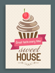Vintage Sweet House menu card design decorated with cupcake.