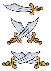 Vintage Swords - Vector Cartoon Illustration