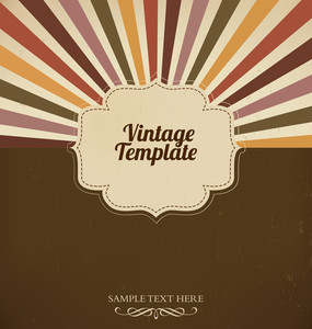 Vintage Template With Retro Sun Burst Background