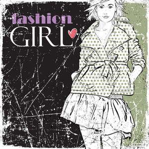 Vintage Vector Illustration Of Lovely Fashion Girl.