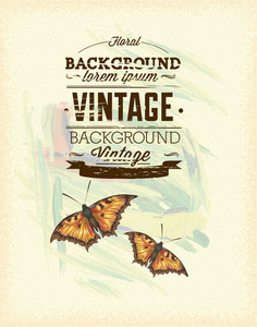 Vintage Vector Illustration With Butterfly,