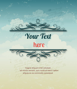 Vintage Vector Illustration With Clouds And Floral Frame