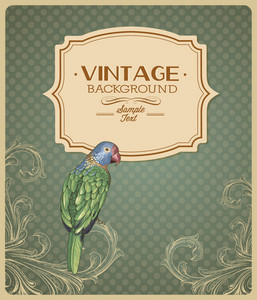 Vintage Vector Illustration With Floral Elements, Frame And Bird