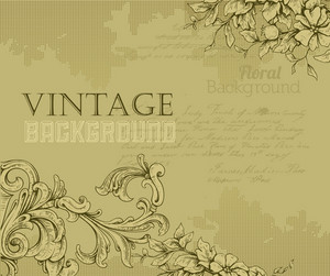 Vintage Vector Illustration With Floral Elements