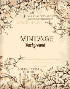 Vintage Vector Illustration With Floral Elements