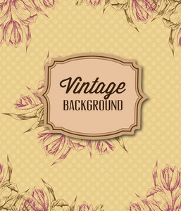 Vintage Vector Illustration With Floral Frame And Spring Flowers