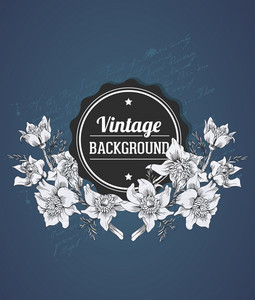 Vintage Vector Illustration With Spring Flower And Badge