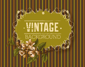 Vintage Vector Illustration With Spring Flowers And Floral Frame