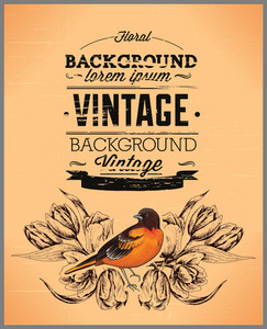 Vintage Vector Illustration With Spring Vintage Floral And Bird