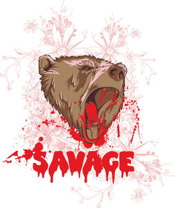 Vintage Vector T-shirt Design With Bear Head
