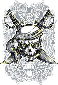 Vintage Vector T-shirt Design With Pirate Skull