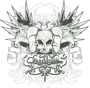 Vintage Vector T-shirt Design With Skulls