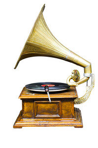 Vintage wind-up gramophone record player on isolate background