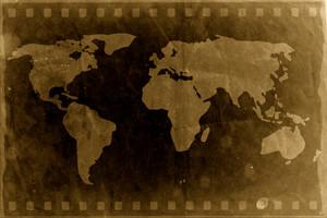 Vintage World Map In Film Strip Background