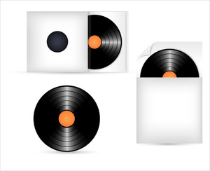 Vinyl Records In Paper Pack Vector Design