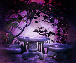 Violet Garden At Night Background