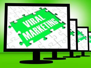 Viral Marketing On Monitors Showing Communities Advertisement