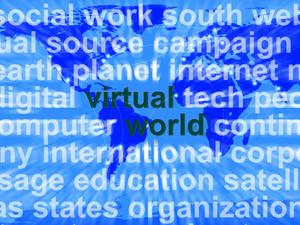 Virtual World Words On Map Showing Global Internet Or Worldwide Networks
