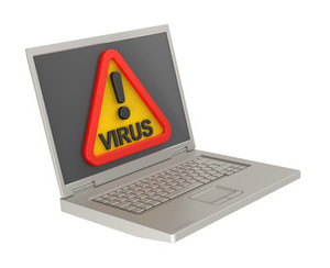 Virus Warning Sign On Laptop Screen.
