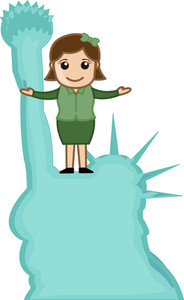 Visit Statue Of Liberty Vector Cartoon