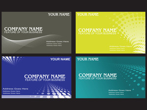 Visiting Cards Set With Wave Halftone Element