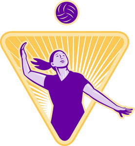 Volleyball Player Serve Ball Front