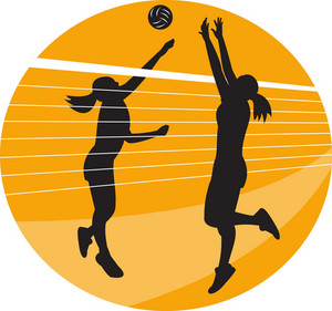 Volleyball Player Spiking Blocking Ball