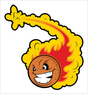 Volleyball With Fire Tale Vector Mascot Tattoo