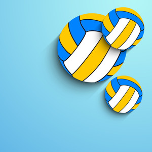 Volleyballs On Blue Background
