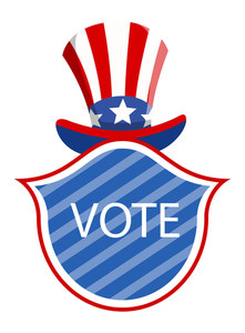 Vote Badge Under Uncle Sam Vector Election Day Vector Illustration