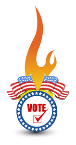 Vote Text On A Badge With Burning Flame Usa Election Day Vector Illustration