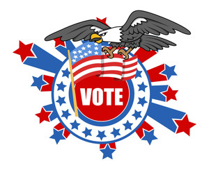 Vote Theme Design With Bald Eagle And Usa Flag Election Day Vector Illustration