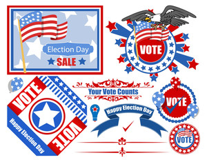 Voting Day Vector Illustration Set