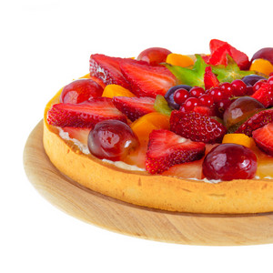 Pie with fruit and berries isolated on white background