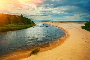 River delta on the sea coast