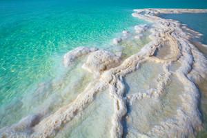 Texture of Dead sea. Salty sea shore