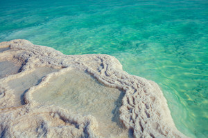Texture of Dead sea. Salt sea shore