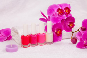 Nail polish for french manicure decorated with orchid flower