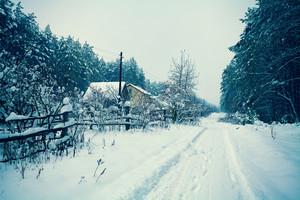Snowy rural landscape