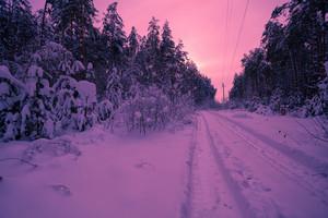 Vintage winter snowy desert road