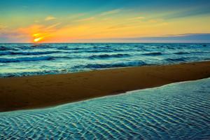 Beautiful sunset over sea