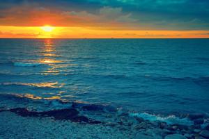 Magic sunset over sea