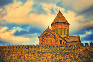 Ancient fortress Svetitskhoveli Cathedral in Mtskheta