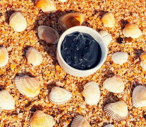 Dead sea mud for spa treatments in a cup on the beach with shell
