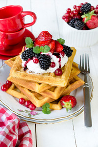 Waffles And Berry Fruits