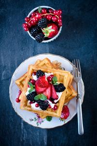 Homemade Waffles And Ice Cream