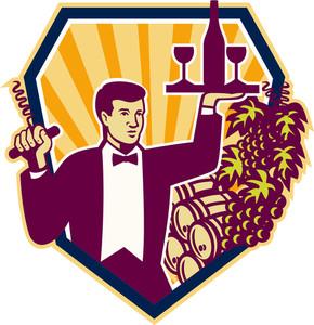 Waiter Serve Wine Glass Bottle Shield Retro